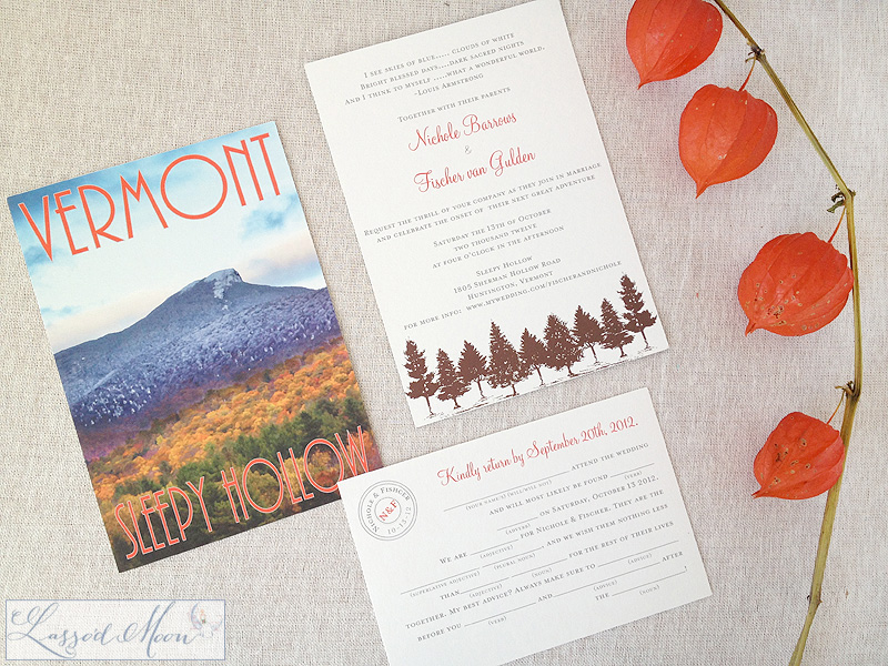 A travel poster style wedding invitation with Mad Lib RSVPs | by Lasso'd Moon