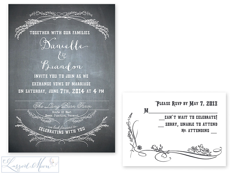 chalkboard wedding invitations | by Lasso'd Moon