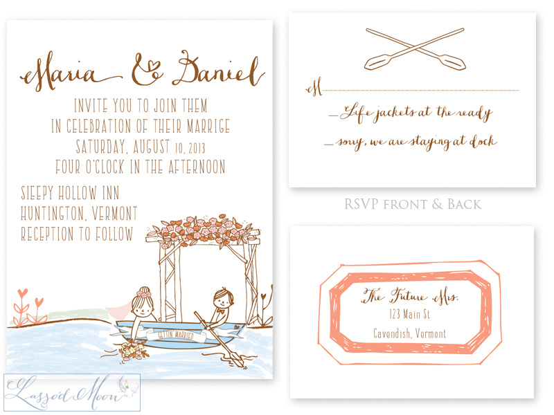 Canoe Outdoors Illustrated Wedding Invitation | by Lasso'd Moon