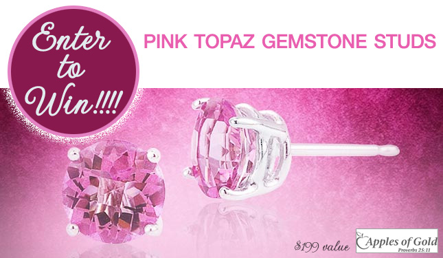 Christmas Giveaway : Enter to Win Pink Topaz Gemstone Studs - $149 value