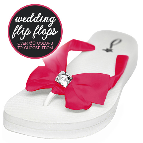 Wedding Flip Flops with bows and bling : choose from over 60 colors #flipflops #weddingshoes #bows