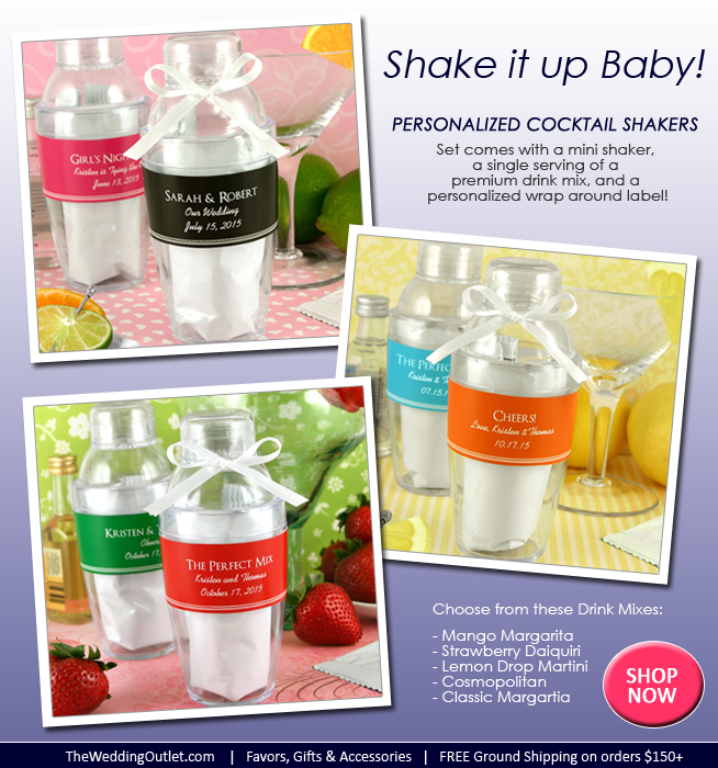 Personalized Cocktail Shaker Wedding Favors : complete with mini shaker and single serving of a premium drink mix