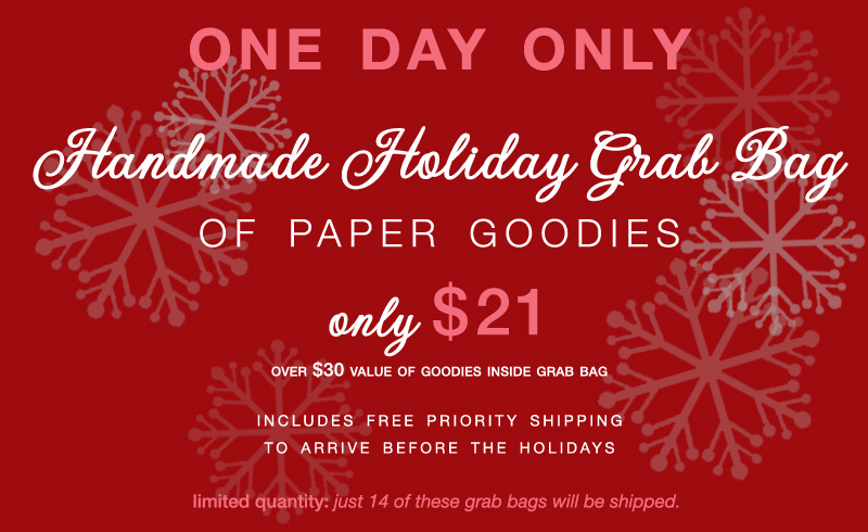 Handmade Holiday Grab Bag of Paper Goodies : only $21