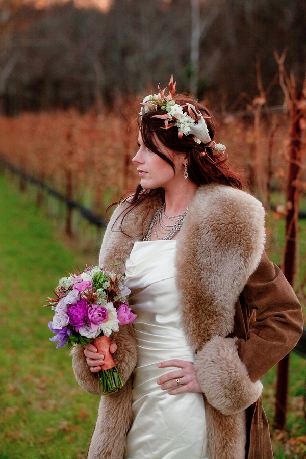 Midwinter Night's Dream Wedding | Bride in Vineyard | Styled Shoot | Katie Rose LLC | Florals by Eight Tree Street | Photo by Mollie Tobias Photography #vineyardweddings #purple