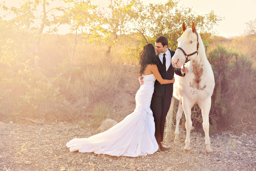 Day After Session with the couple kissing a horse looking on | from Arina B Photography