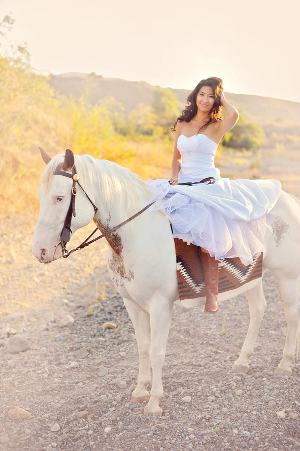 A Gorgeous Bride on a white horse | from Arina B Photography