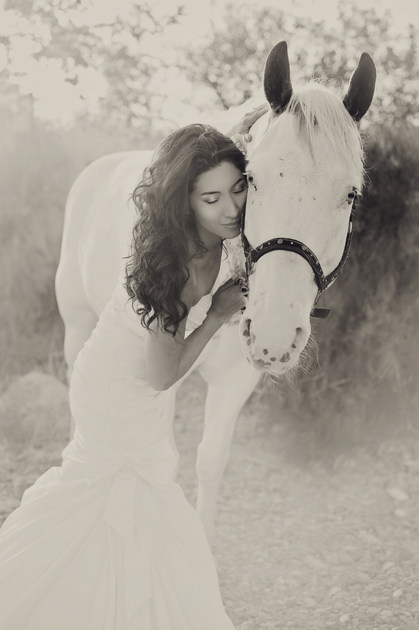 Gorgeous B+W Bridal Portrait with a white horse | from Arina B Photography