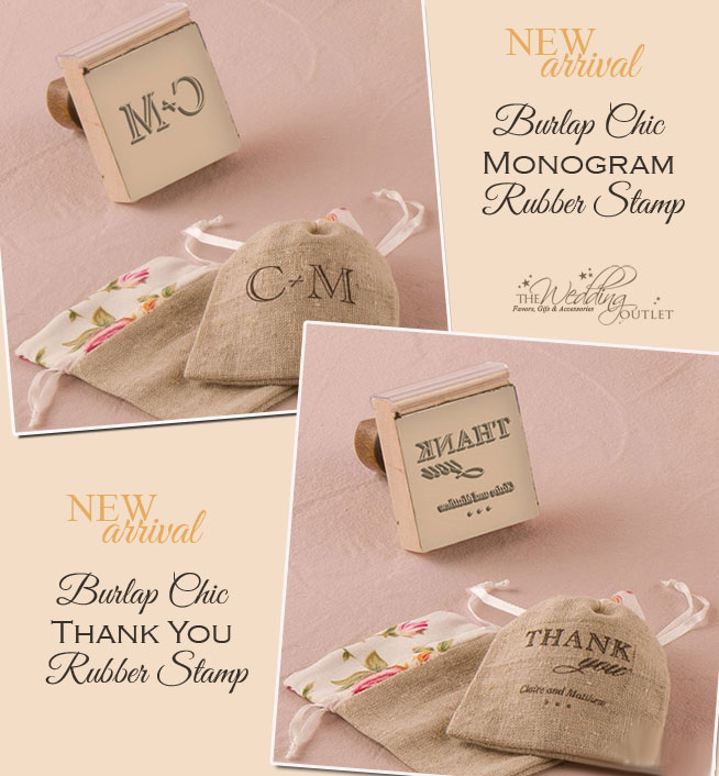 4203423446 Burlap Chic Personalized Rubber Stamps for DIY Wedding Projects