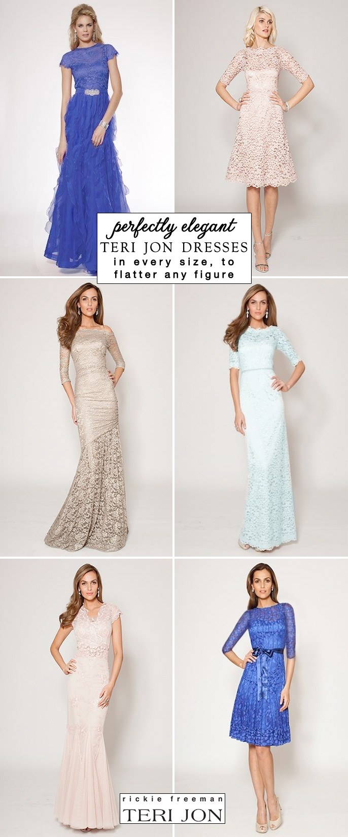 Teri Jon Elegant Dresses from Rickie Freeman in Every Size to Flatter Any Figure - click thru to see the blog post for a Free Shipping coupon code