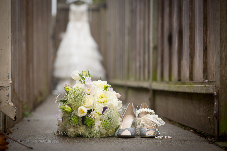 bridal bouquet with shoes and all of the brides jewelry and accessories | photo by Portrait Design by Shanti