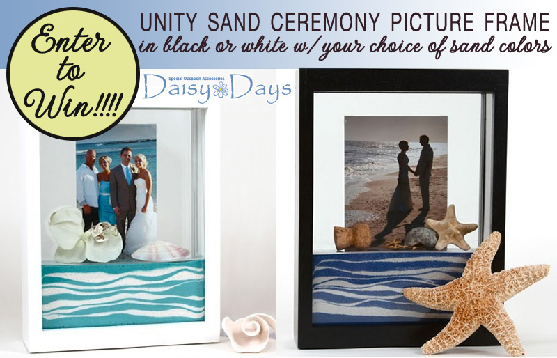 Enter to Win a Unity Sand Ceremony Picture Frame in either black or white with a choice of 2 wedding sand colors from #DaisyDays #sandceremony #weddingframe #weddingsand