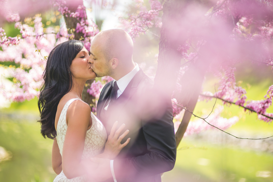 Spring Engagement Session with a couple kissing amongst the pink tree blossoms | photo by Style and Story Creative