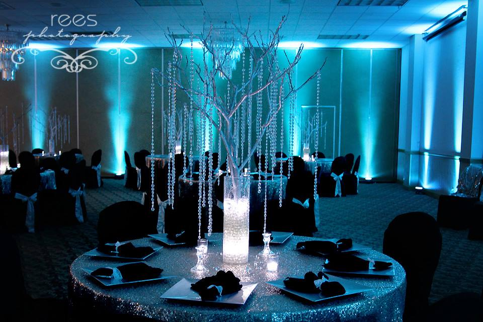 Diy uplighting for weddings add color and ambience with for Diy wedding reception lighting