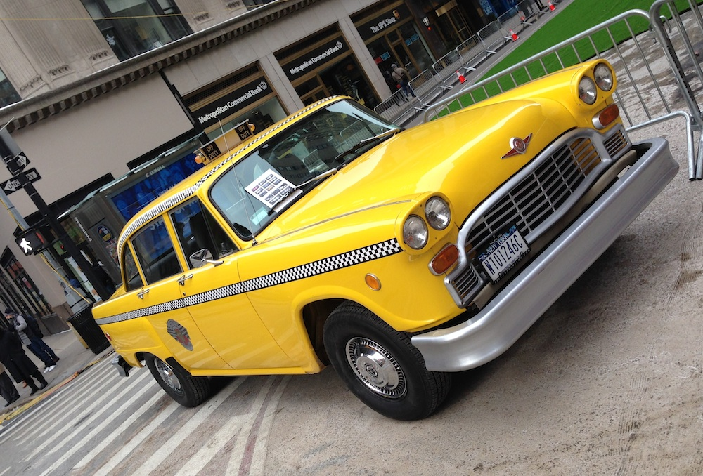 vintage nyc taxi cab - the perfect getaway car for a new york city wedding