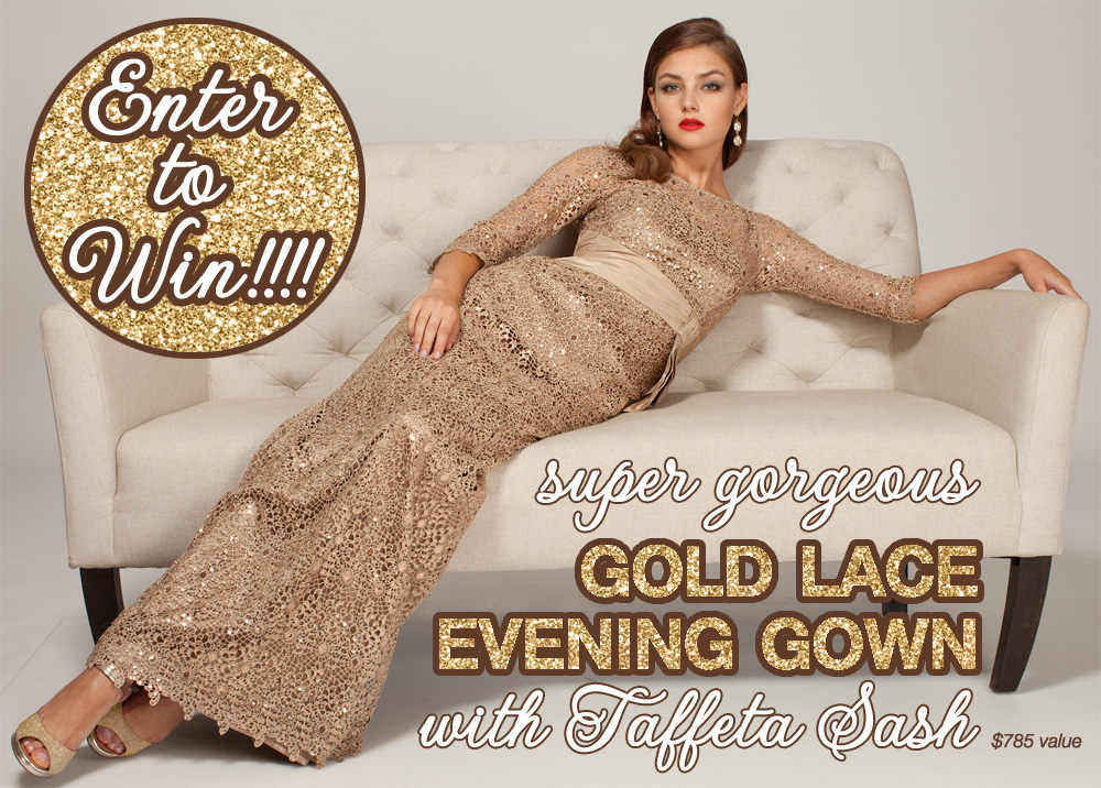 You could win this super gorgeous Gold Lace Evening Gown from Teri Jon Dresses - comes with a Taffeta Sash {in sizes 2-16} #fashion #giveaway #weddingcontest #eveninggown #terijondresses #gold #lace #dressgiveaway