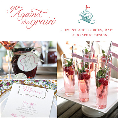 Go Against the Grain is your place for event accessories, wedding maps and graphic design