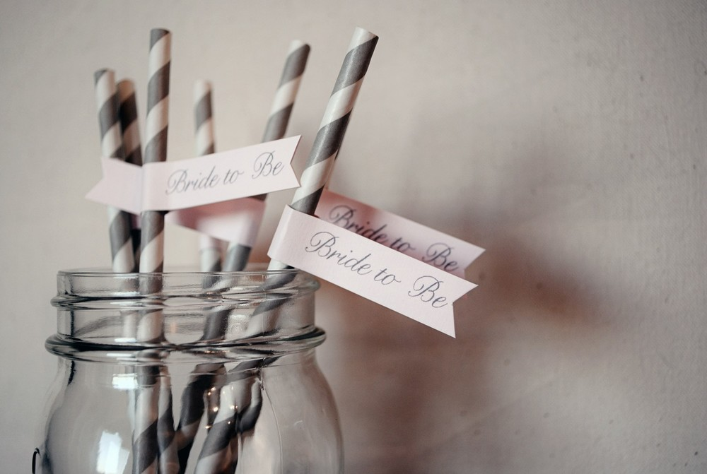 Bride to Be Paper Drink Straw Flags from Go Against the Grain