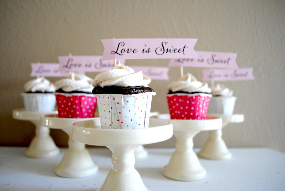 Love is Sweet Mini Cupcake Banners from Go Against the Grain