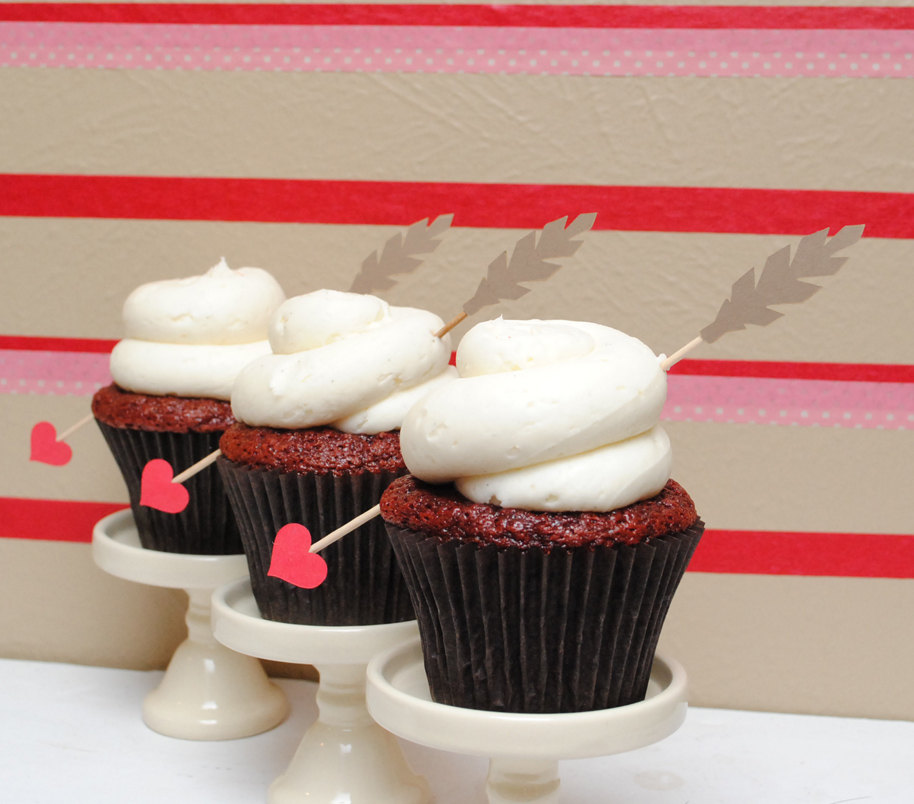 Valentine's Day Cupid's Arrow cupcake toppers from Go Against the Grain