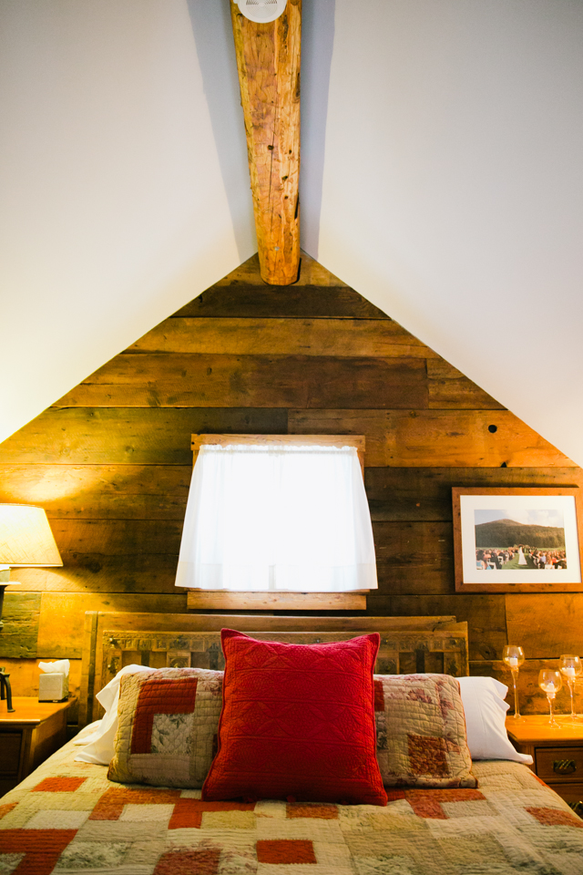 the custom made bed in the Bridal Suite at Riverside Farm Weddings in Vermont - photo by Jasmine Lee Photography