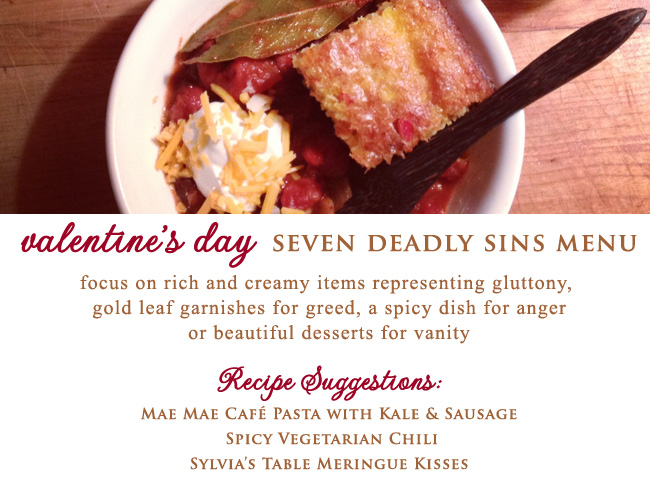 Valentine's Day Seven Deadly Sins inspired Menu that focuses on rich and creamy items - from Great Performances in NYC