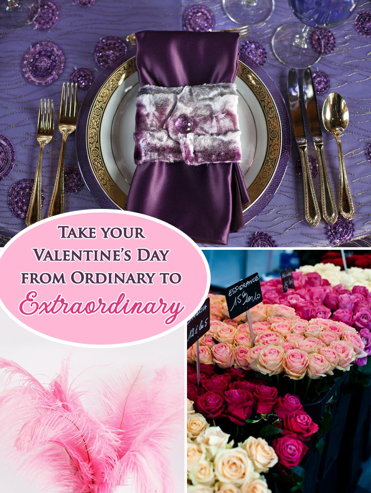 Turn Your Valentine's Day from Ordinary into the Extraordinary with these tips from NYC Catering Company Great Performances #ostrichfeathers #storebouquets