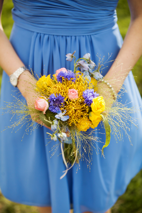 wildflower bridesmaids bouquet with a cornflower blue dress | photo by Pepper Nix Photography