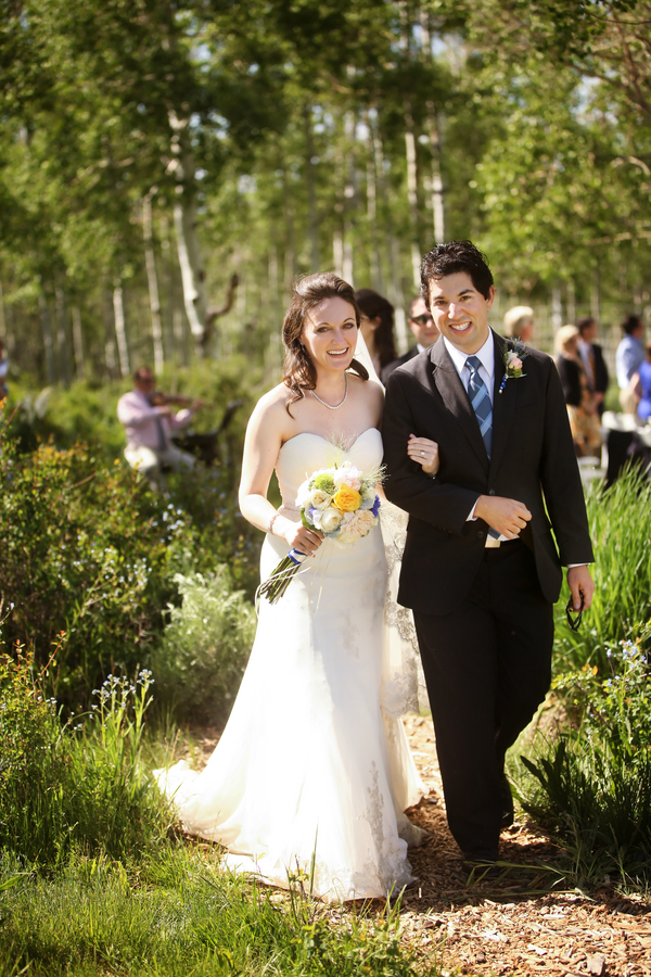 bride and groom just married in an Aspen grove in Utah | photo by Pepper Nix Photography