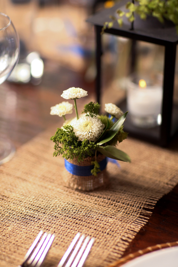 sweet little mini floral arrangement wrapped in burlap | Pepper Nix Photography