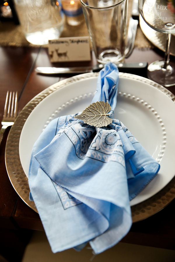 Blue Cornflower Bandanas for napkins at a Rustic Barn Wedding in Utah | Pepper Nix Photography