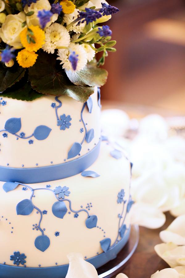 2 tier cake with cornflower blue aspen leaves - lemon poppyseed flavor inside | Pepper Nix Photography