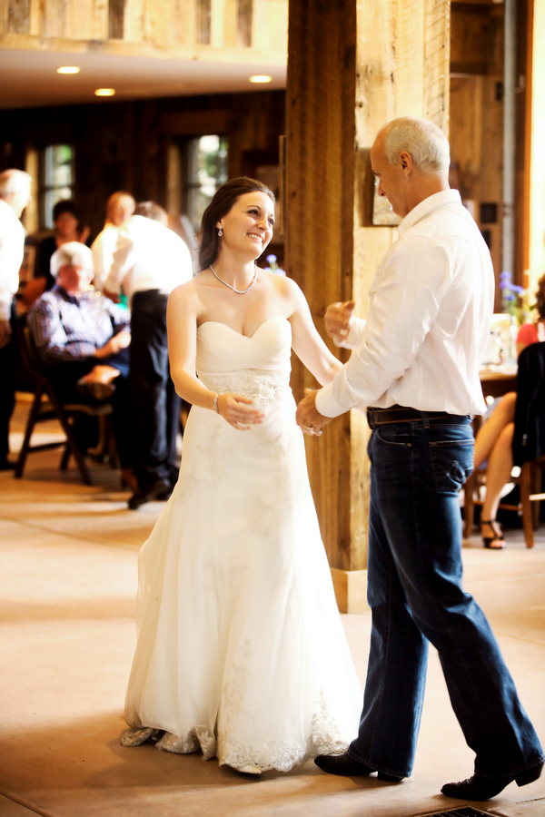 father and daughter dance at a rustic barn wedding in Utah | Pepper Nix Photography