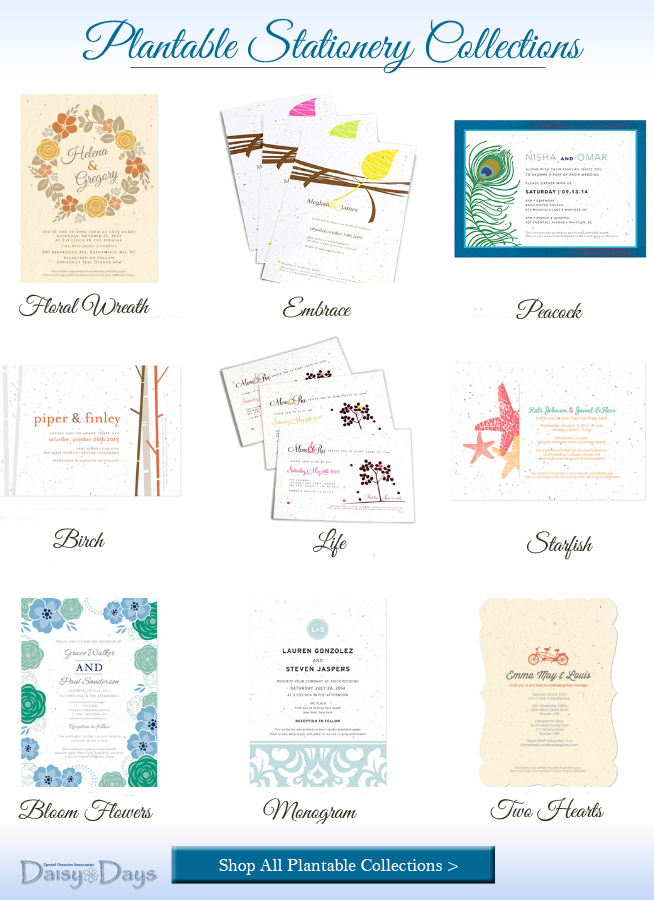 plantable wedding stationery that's printed on seed paper | from Daisy Days #weddingstationery #plantablepaper #seedpaper #daisydays #plantablepaper