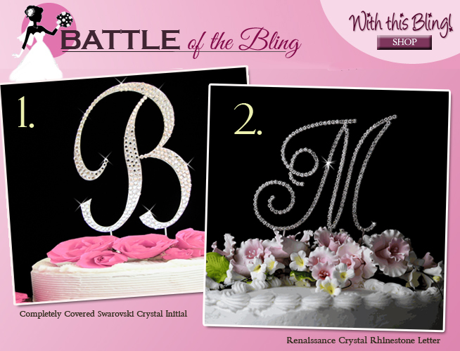 Battle of the Bling : Which #wedding #caketopper style is yours? Script vs. Renaissance Cake Top Letter