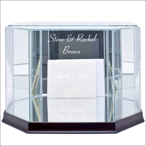 Glass wedding #cardboxes in octagon and rectangular shapes from Weddings are Fun