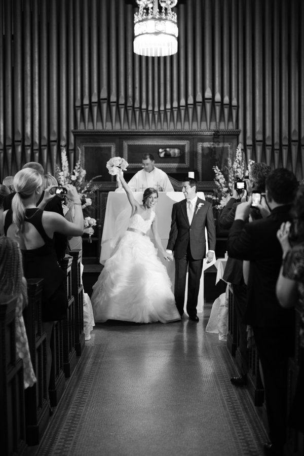 "the ""we're married"" cheer by the bride 