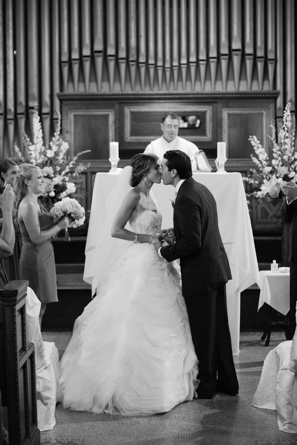 the happy married couple's first kiss as husband and wife | photo by Mary Dougherty Photography