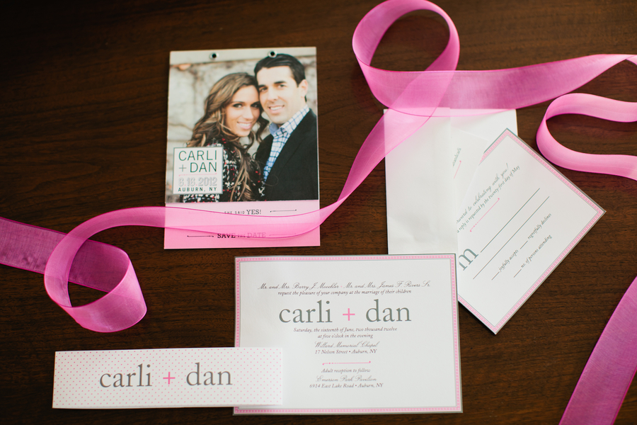 pink and grey wedding invitation suite from  Lacey Perkins  | photo by Mary Dougherty Photography