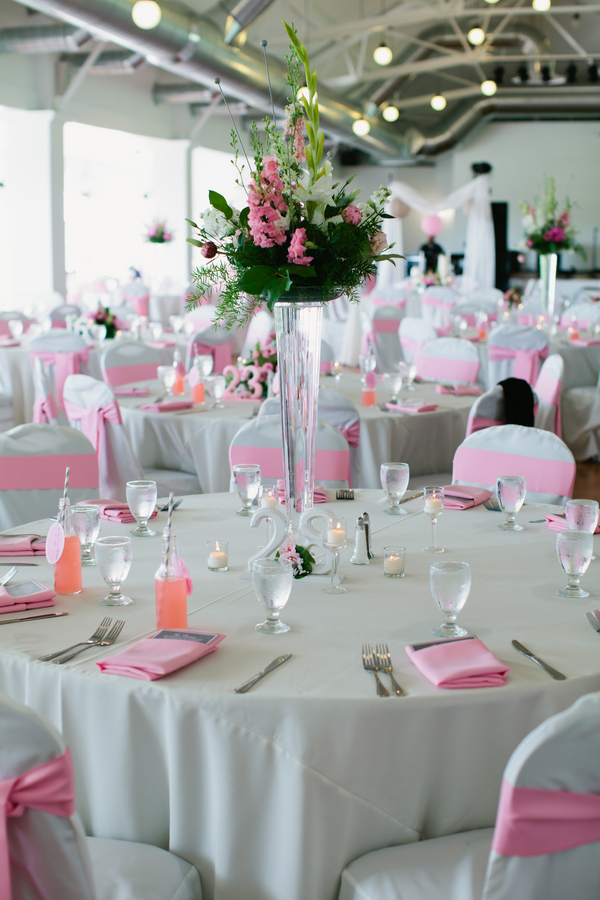 pink and grey wedding table setting | photo by Mary Dougherty Photography