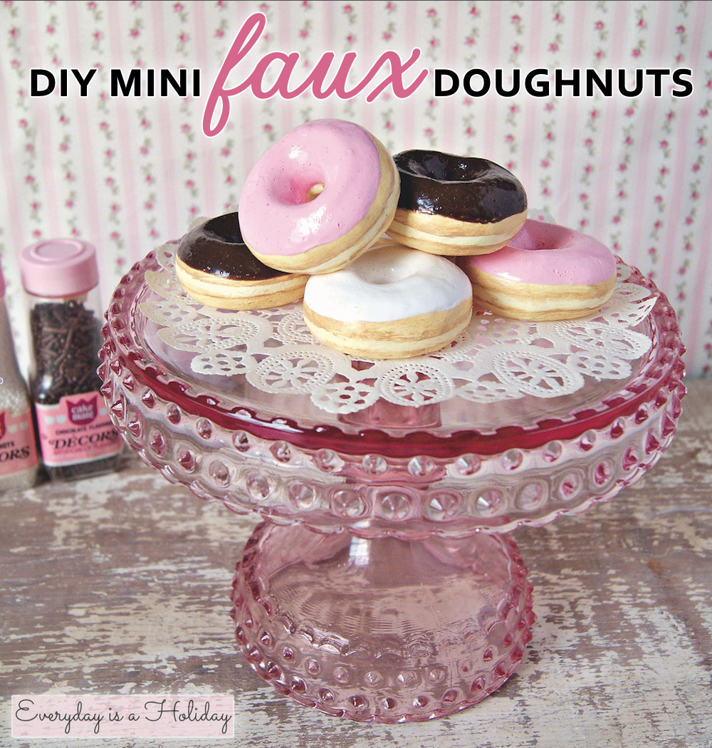 DIY mini faux doughnuts for party favors, magnets or a fun display | from Everyday is a Holiday ... the Mixed Media Masterpieces book #minidonuts #fauxdoughnuts #diyfauxdonuts