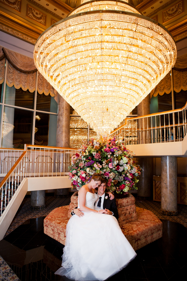 absolutely stunning chandelier for bridal portraits | photo by Kate's Lens Photography