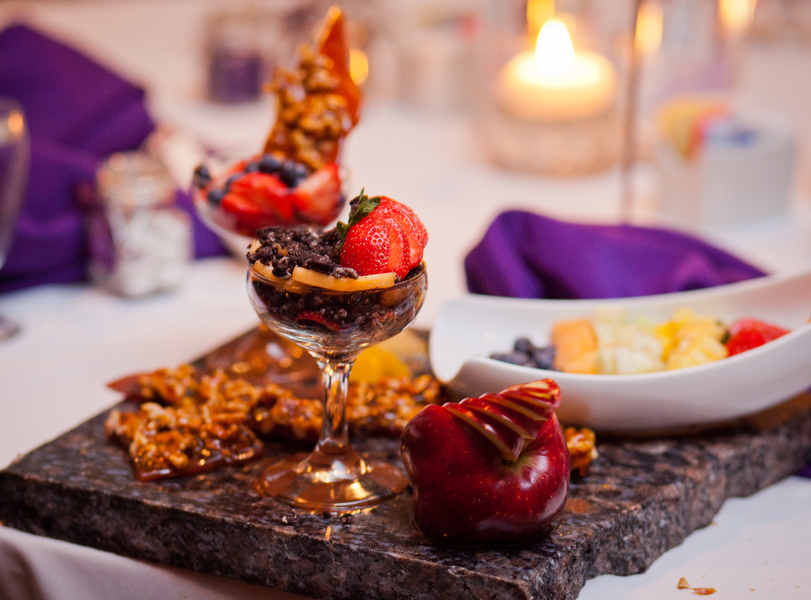 beautiful dessert display with fruit and chocolates | photo by Kate's Lens Photography