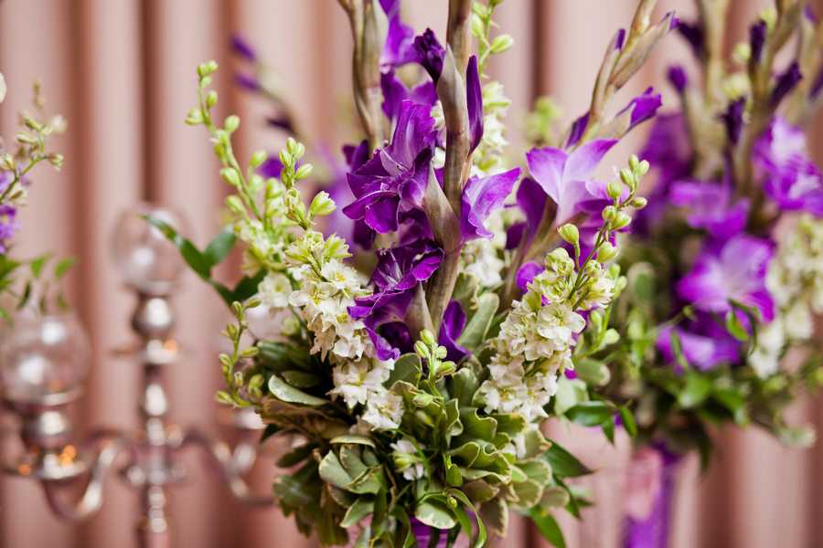 purple flowers from a Maryland wedding | photo by Kate's Lens Photography