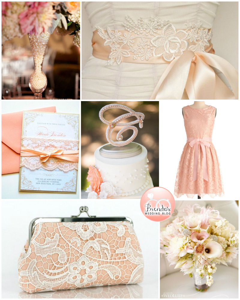 Peach Lace and Pearls Wedding Inspiration Board