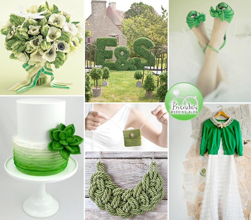 Green and White Wedding Inspiration Board - perfect for Spring Weddings and St. Patrick's Day