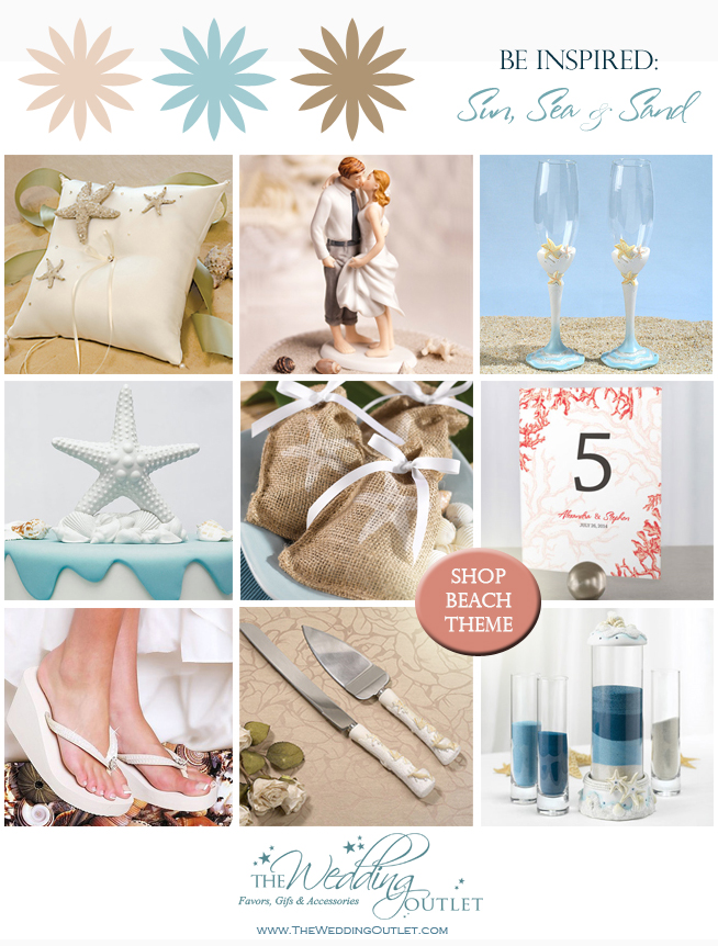 Summer #Wedding Inspiration Board with #beach themed #favors and #accessories from www.theweddingoutlet.com - featuring inspirations from the sun, sea and sand