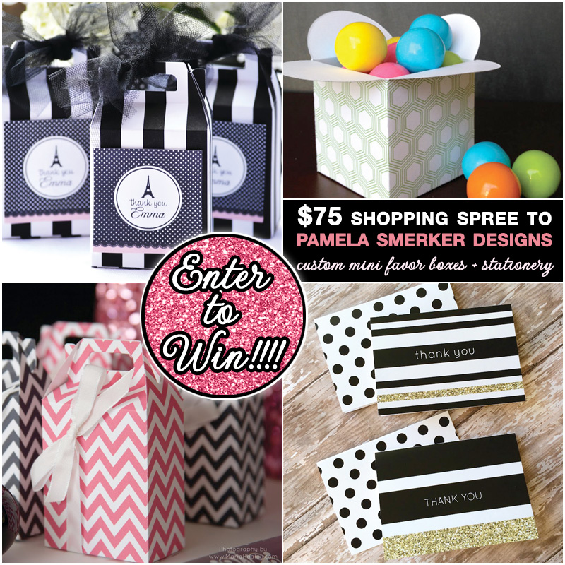 Last Chance to Enter to Win a $75 Shopping Spree to Pamela Smerker Designs for custom mini favor boxes and stationery. Giveaway ends Monday March 17th at 11:59 pm est. #favorboxes #weddinggiveaway #weddingcontests #weddingstationery