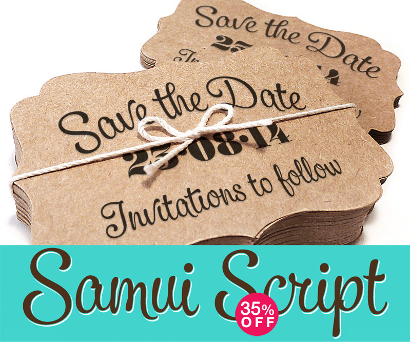 One of the most gorgeous hand-lettered-style script fonts - Samui Script and it's 35% off until March 20th