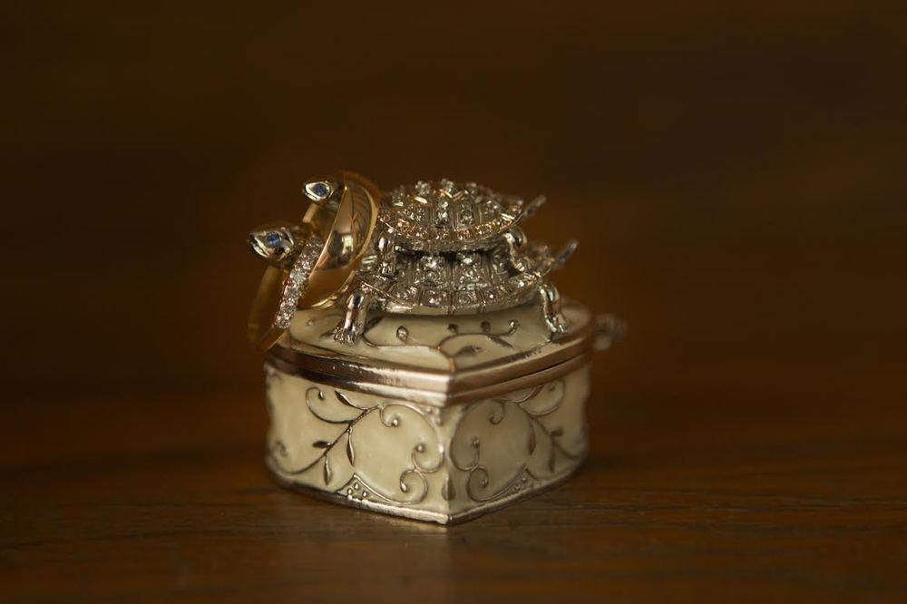 Sweet little shot of the wedding rings on the turtles necks of a trinket box | by Jenz Pix www.psquarestudios.com