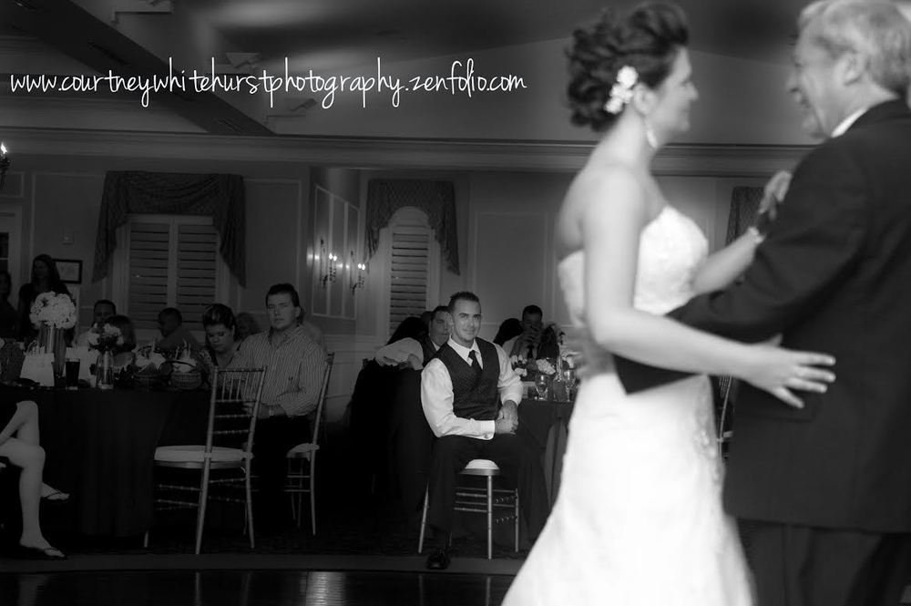 Such a sweet photo of the groom in the background watching his bride dance with her dad | by Courtney Whitehurst Photography www.courtneywhitehurstphotography.zenfolio.com
